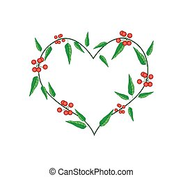 Evergreen Leaves in A Heart Shape Frame