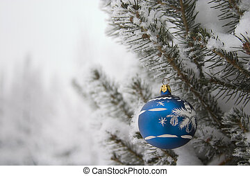 evergreen with christmas decoration