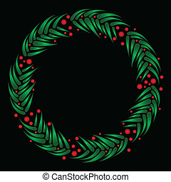 Evergreen wreath with berries