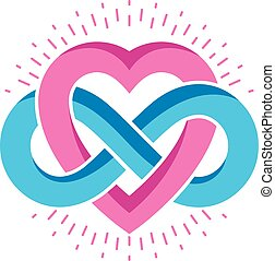 Everlasting Love concept, vector symbol created with infinity loop sign and heart.