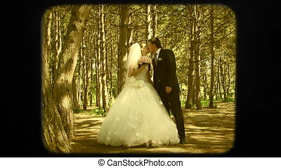 Everlasting Wedding Kiss Of Young Newlyweds - Two frames:...