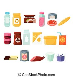 Every Day Products Set Of Flat Isolated Vector Simple...