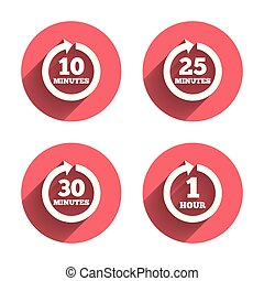 Every 10, 25, 30 minutes and 1 hour icons. Full rotation arrow symbols. Iterative process signs. Pink circles flat buttons with shadow. Vector