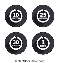 Every 10, 25, 30 minutes and 1 hour icons. Full rotation arrow symbols. Iterative process signs. Circles buttons with long flat shadow. Vector