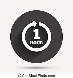 Every hour sign icon. Full rotation arrow.