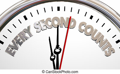 Every Second Counts Clock Precious Time Saying 3d Illustration