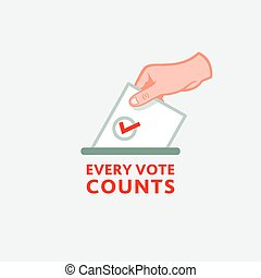 Every vote counts - Hand with ballot as a symbol for an ...