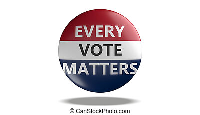 EVERY VOTE MATTERS text on american flag colors badge isolated on white background. USA elections. 3d illustration