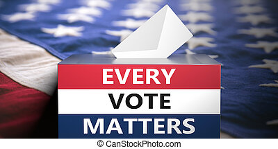 EVERY VOTE MATTERS text on american flag colors ballot box. USA elections. 3d illustration
