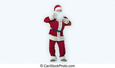 Everybody Dance - Full length portrait of Santa dancing...