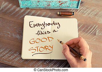 everybody, história, bom, texto, gostar, manuscrito