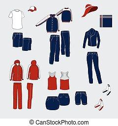 everyda, mujeres, clothing., hombres, trajes, conjunto, azul, rojo