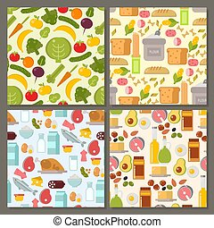 Everyday food common goods organic products seamless pattern background shopping in supermarket vector illustration.