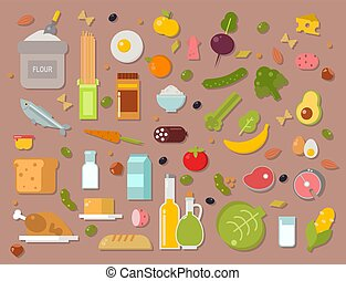 Everyday food common goods organic products we get by shopping in supermarket vector illustration.