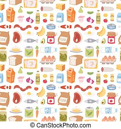 Everyday food icons patchwork vector seamless pattern