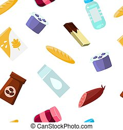 Everyday goods and food products Seamless Pattern, Design Element Can Be Used for Fabric, Wallpaper, Packaging Vector Illustration