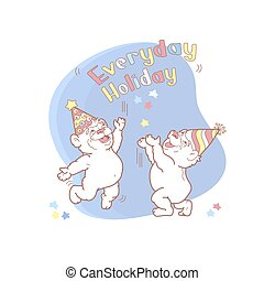 Everyday Holiday card with two cute bears. Vector. -...