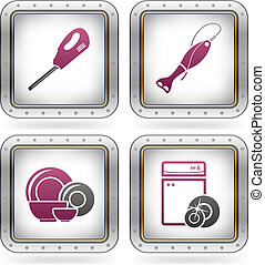 Everyday Kitchen Utensils & Tools: Electric Knife, Blender, Plates, Bowl, Hand Blender, Dishwasher (part of the 2 Colors Chrome Icons Set)