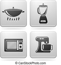 Everyday Kitchen Utensils & Tools (Platinum Square 2D Icons Set)
