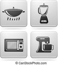 Everyday Kitchen Utensils & Tools (Platinum Square 2D Icons Set)