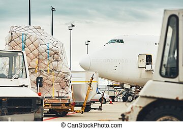 Loading of the cargo airplane
