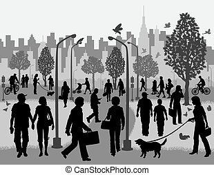 Everyday People in a City Park - Illustration of silhouettes...