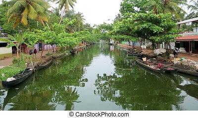 Everyday scene in Kerala Backwaters