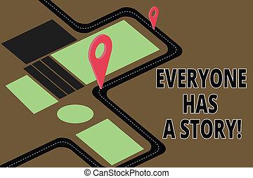 everyone, épingle, photo, signe, locator, marqueur, story., art conter, mémoires, contes, ton, texte, conceptuel, a, 3d, carte, direction, projection, fond, dire, navigation, parcours, advisory., route