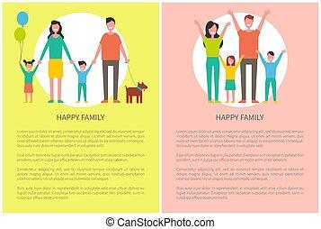 everyone, familie, plakat, oppe, hilste, hænder, greb, glade