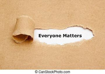 everyone, questões, papel rasgado, conceito