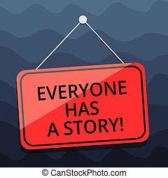 everyone, storytelling, elpirul fénykép, tiszta, signage, story., emlékezőtehetség, tales, írás, jegyzet, ablak, függő, kap, ajtó, húr, ügy, kiállítás, háttér, sokatmondó, -e, tack., showcasing