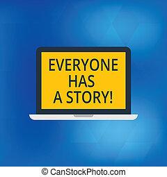 everyone, storytelling, fénykép, laptop computer, story., monitor, tabletta, személyes, emlékezőtehetség, tales, írás, jegyzet, szöveg, kap, ellenző, ügy, kiállítás, space., háttér, sokatmondó, -e, showcasing