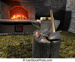 Gold Bar is on the anvil. The anvil is made of silver. Against the backdrop of a forge and fire.