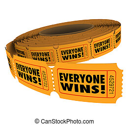 Everyone Wins Fundraiser Raffle Ticket Roll Spread Victory...