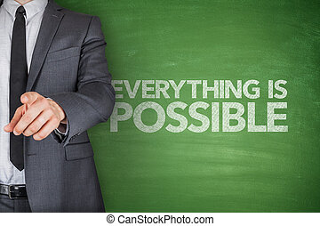 Everything is possible on blackboard with businessman