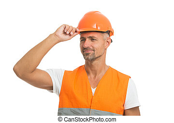 Everything is under control. Safety concept. Man wear protective hard hat and uniform. Cheerful builder. Protective equipment concept. Handsome builder. Inspector control. Architect control