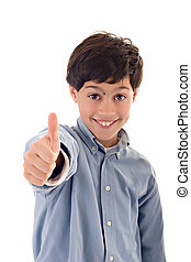 Cute kid smiling, wearing a blue shirt, showing a thumbs up against white background.