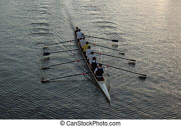 evezősök, képben látható, a, folyó