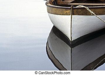 evezős csónak, és, visszaverődés, alatt, víz