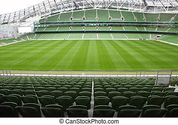 evez, összpontosít, zöld, stadium., elhelyez, elülső, üres