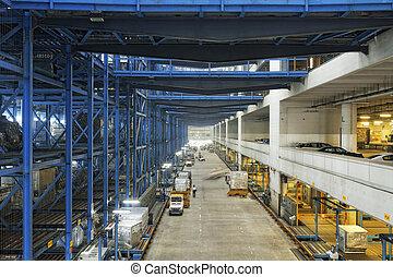 evez, közül, polc, noha, dobozok, alatt, gyár, raktárépület
