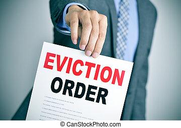evicção, ordem, homem, paleto