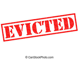 EVICTED red Rubber Stamp over a white background.