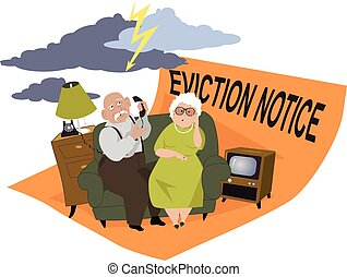 Elderly couple sitting on a couch, under a stormy skies, on the eviction notice, EPS 8 vector illustration