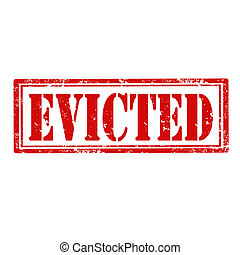 Grunge rubber stamp with word Evicted, vector illustration
