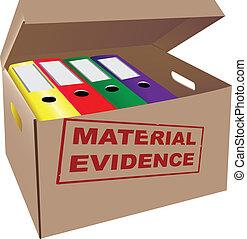 Evidence - Folders with evidence in a cardboard box. Vector...