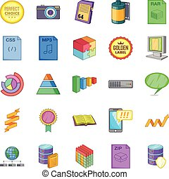 Evidence icons set, cartoon style - Evidence icons set....