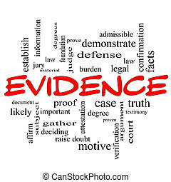 Evidence Word Cloud Concept in red caps with great terms...