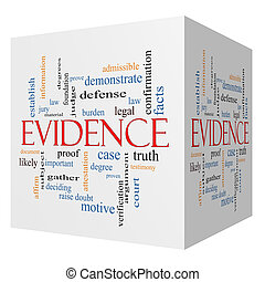 evidencia, 3d, cubo, palabra, nube, concepto