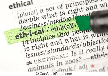 evidenziato, definizione, etico